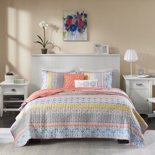 Intelligent Design Adley Coral Printed Coverlet Set