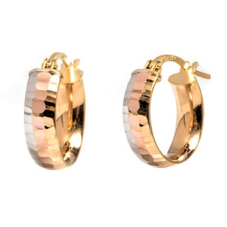 Pori 14k Solid Gold Tri-tone Diamond-cut Hoop Earrings