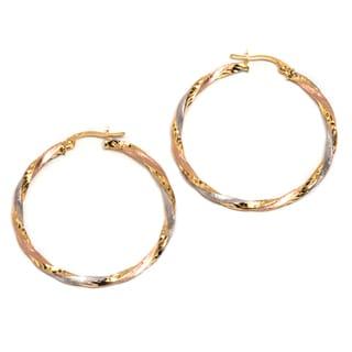 Pori 14K Solid Gold Tri-tone Twisted Hoop Earrings