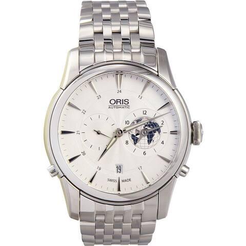 Oris Men's 69076904081MB 'Artelier GMT' Automatic Stainless Steel Watch - silver