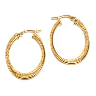 Pori 14k Solid Gold Textured Twisted Oval Hoop Earrings