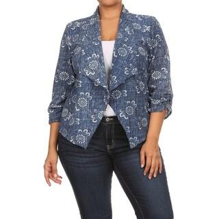 Women's Blue Denim Plus Size Blazer Style Jacket