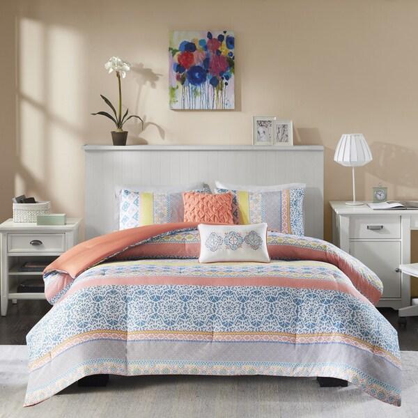 Intelligent Design Adley Coral Printed Comforter Set