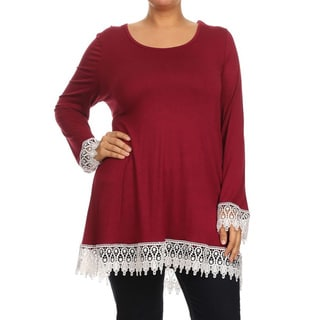 Women's Crochet Plus Size Lace Trim Tunic
