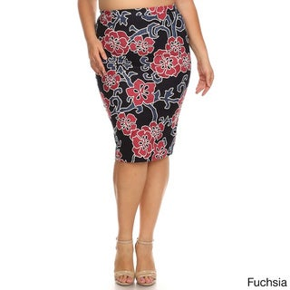 Women's Plus Size Embroidered Cherry Blossom Skirt