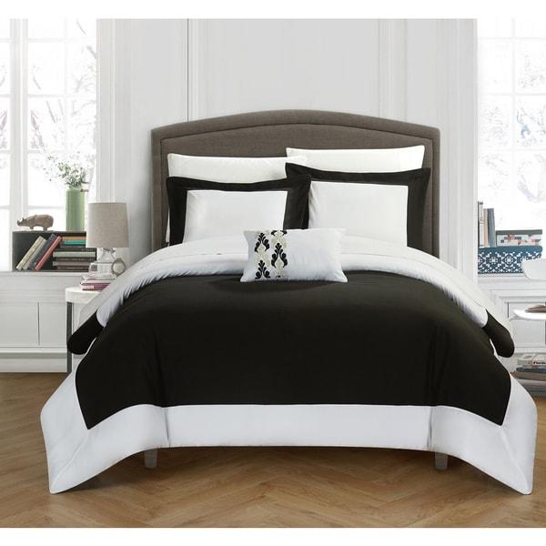 Chic Home 4-Piece Uma Black and White Reversible Duvet Cover Set