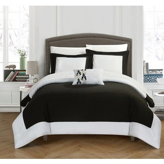 Chic Home 4-Piece Uma Black and White Reversible Duvet Cover Set