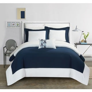 Chic Home 4-Piece Uma Navy Reversible Duvet Cover Set