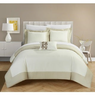 Chic Home 4-Piece Uma Beige Reversible Duvet Cover Set