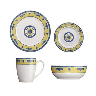 Cuisinart Peony Blue and Yellow 16-Piece Dinnerware Set (Service for 4)
