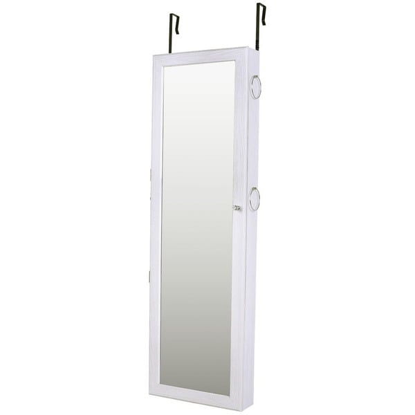 Shop Ikee Design White Jewelry Cabinet Armoire Mirrored