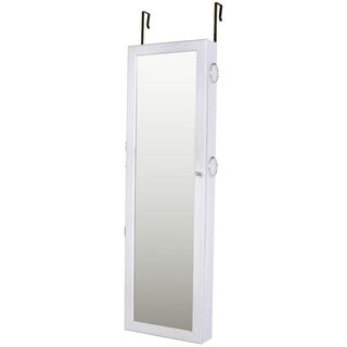 Ikee Design White Jewelry Cabinet Armoire Mirrored Jewelry Armoire Wall Mounted Cabinet