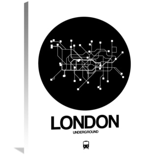 NAXART Studio 'London Black Subway Map' Stretched Canvas Wall Art