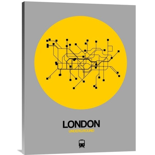 NAXART Studio 'London Yellow Subway Map' Stretched Canvas Wall Art