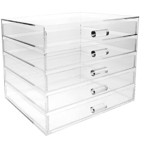 Ikee Design Acrylic 5 Drawer Cosmetic and Jewelry Organizer