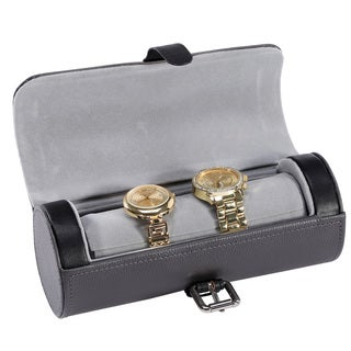 Ikee Design Leatherette Watch Storage Travel Case For 3 Watches