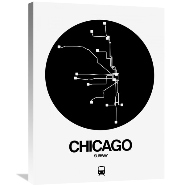 Black And White Subway Map.Naxart Studio Chicago Black Subway Map Stretched Canvas Wall Art