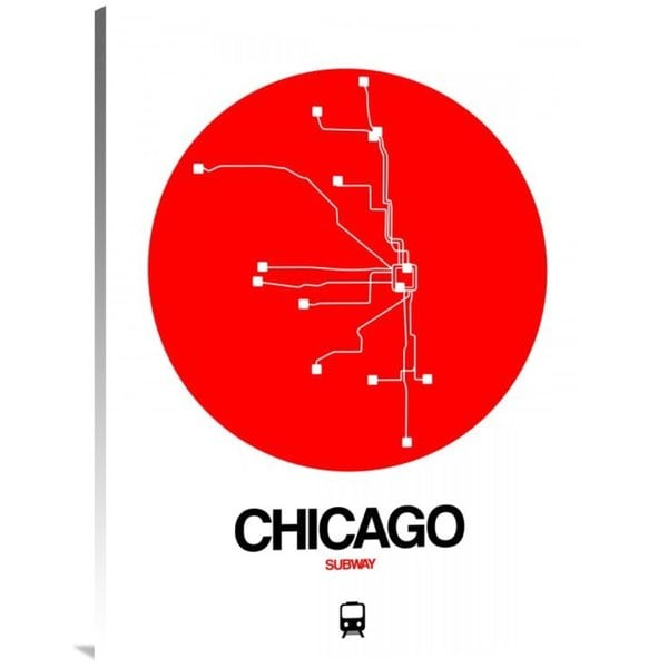 Shop Naxart Studios Chicago Red Subway Map Stretched Canvas Wall