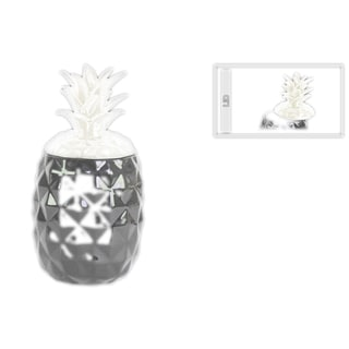 Urban Trends Collection Gloss Black Ceramic Decorative Pineapple Canister with White Lid