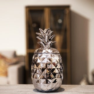 UTC43716: Ceramic 60 oz. Pineapple Canister Coated Finish Silver