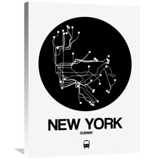 NAXART Studio 'New York Black Subway Map' Stretched Canvas Wall Art