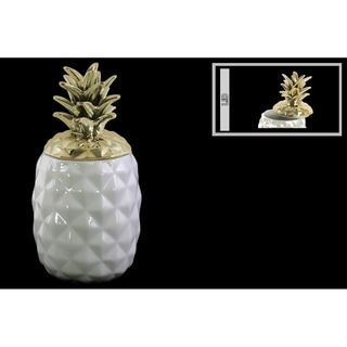 UTC43714: Ceramic 60 oz. Pineapple Canister with Gold Lid Coated Finish White