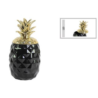 Ceramic Pineapple Canister with Gold Lid Gloss Finish Black