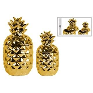 UTC43155: Ceramic 108 oz. Pineapple Canister Set of Two Polished Chrome Finish Gold