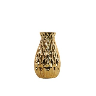 Urban Trends Collection Polished Chrome Gold Ceramic Round Bellied Vase