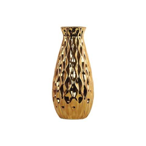 UTC43145: Ceramic Round Bellied Vase with Embossed Wave Design Body LG Polished Chrome Finish Gold