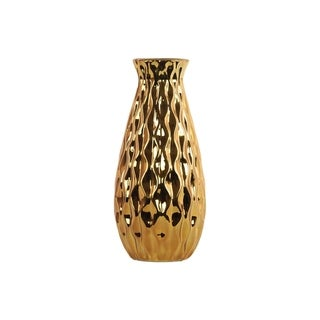 UTC43145: Ceramic Round Bellied Vase with Embossed Wave Design Body LG Polished Chrome Finish Gold