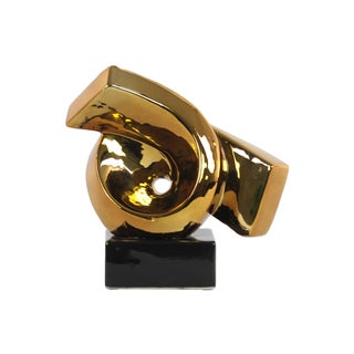 Urban Trends Collection Polished Chrome Gold Ceramic Ribbon Abstract Sculpture