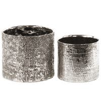 Urban Trends Collection Electroplated Antique Silver Ceramic Engraved Criss-cross Planter (Set of 2)