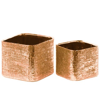 Urban Trends Collection Electroplated Rose Gold Ceramic Square Engraved Criss Cross Design Planter (Set of 2)