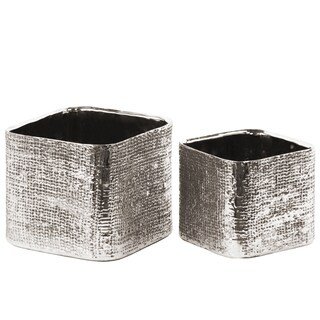 Urban Trends Collection Electroplated Antique Silver Ceramic Square Planter with Engraved Crisscross Design (Set of 2)