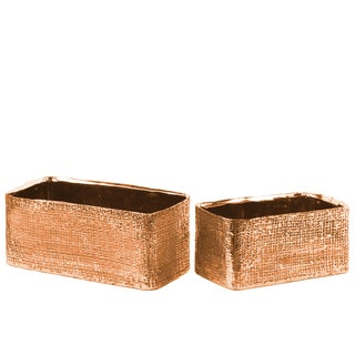 Urban Trends Collection Electroplated Rose Gold Ceramic Rectangular Planter with Engraved Criss Cross Design (Set of 2)