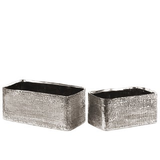 Urban Trends Collection Electroplated Antique Silver Ceramic Rectangular Planter with Engraved Criss Cross Design (Set of 2)