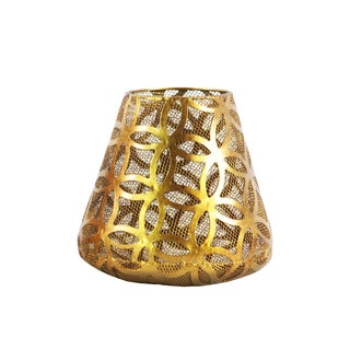 Urban Trends Collection Metallic Gold Metal Round Diamond-in-circle Design Body and Bellied-bottom Small Candle Holder