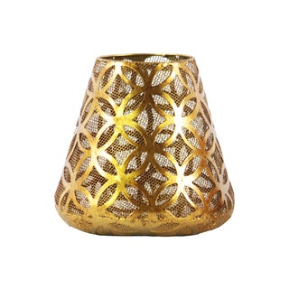 Urban Trends Collection Metallic Gold Metal Round Candle Holder with Diamond-in-circle-design Body and Bellied Bottom