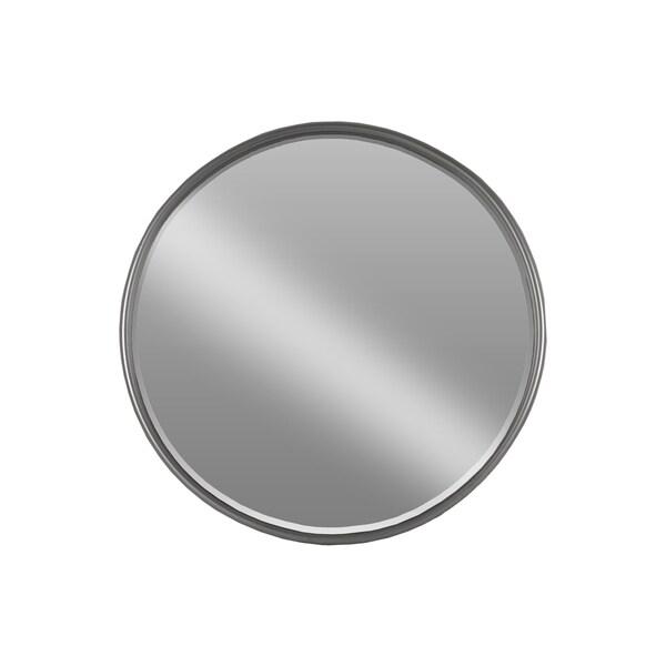 Shop Coated Gunmetal Grey Metal Tubular Framed Round Mirror (Large ...