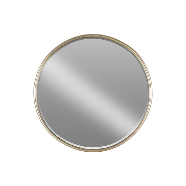 Urban Trends Collection Coated Champagne Metal 30-inch Diameter Round Mirror with Tubular Frame and Window Box