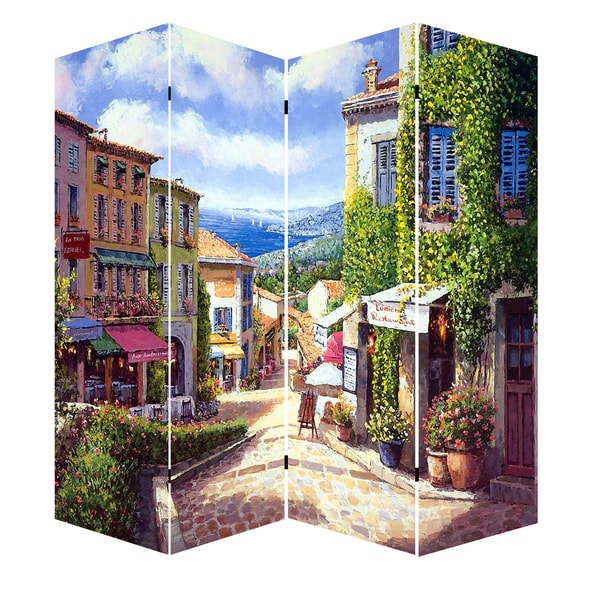 Shop 71 inch French Provence Canvas Room Divider Free Shipping