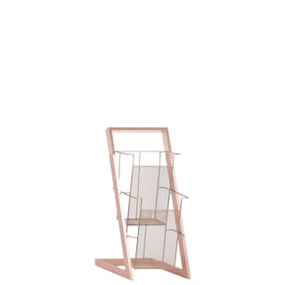 Urban Trends Collection Coated Rose Gold Iron Magazine Rack with 2 Wire Mesh Sides Bins and Easel Stand