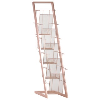 Urban Trends Collection Coated Rose Gold Iron Magazine Rack
