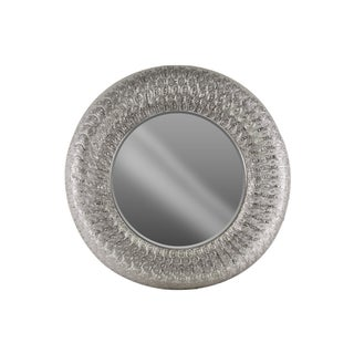 Urban Trends Electroplated Silver Metal Round Wall Mirror with Parquet Pierced Metal Design Frame