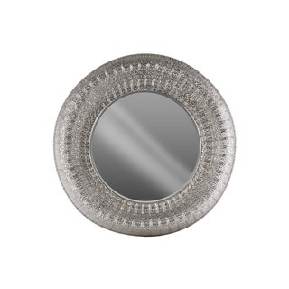 Urban Trends Collection Electroplated Silver Metal Round Wall Mirror with Parquet Pierced Metal Design Frame