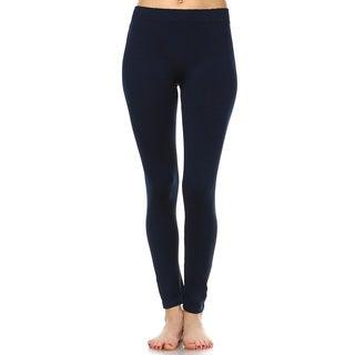 White Mark Women's Solid-color Leggings 2-pack