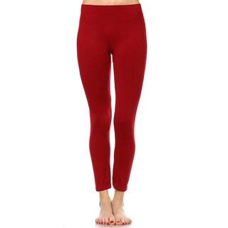 White Mark Women's Solid Leggings (Pack of 2)