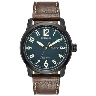 Citizen Men's Brown Leather Strap Eco-Drive Watch