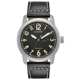 Citizen Men's BM8471-01E Eco-Drive Black Leather Strap Watch